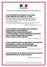 Panneau protection des mineurs et répression de l'ivresse publique - H 300 x L 210 mm