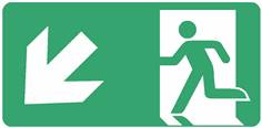 Panneau Evacuation sortie en bas à gauche ISO 7010 - STF 4031S