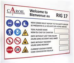 Panneau d´affichage score sécurité sans accident à personnaliser
