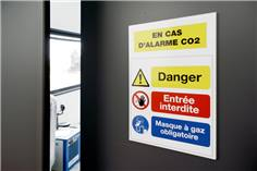Panneau de sécurité personnalisé en Aluminium Dibond avec Adhésif au dos
