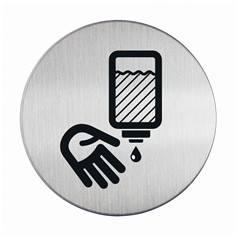 Plaque symbole Se désinfecter les mains - Alu brossé - Ø 83 mm