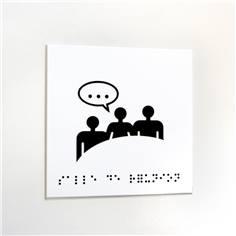Plaque de porte picto relief - Salle de réunion - 120 x 120 mm