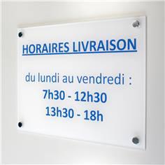 Panneau Horaires de livraison - H 210 x L 300 mm - Avec vis et cache-vis Matière Alu dibond 3 mm