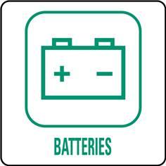 Panneaux déchetterie - Batteries - 350 x 350 mm