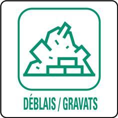 Panneaux déchetterie - Déblais / Gravats - 350 x 350 mm