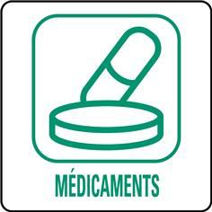 Panneaux déchetterie - Médicaments - 350 x 350 mm