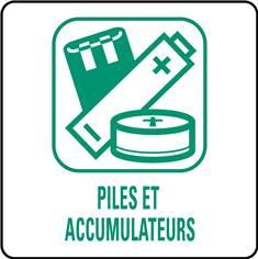 Panneaux déchetterie - Piles et accumulateurs - 350 x 350 mm