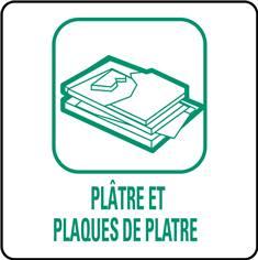 Panneaux déchetterie - Plâtre et plaques de plâtre - 350 x 350 mm