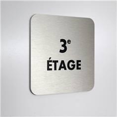 Plaque alu brossé 3e Étage - 100 x 100 mm