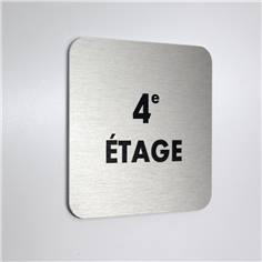 Plaque alu brossé 4e Étage - 100 x 100 mm