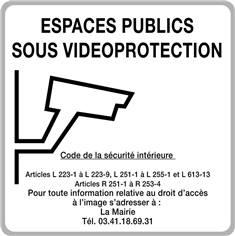 Panneau routier Espaces Publics sous vidéo protection - H 500 x 500 mm