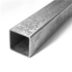 Poteau carré 40 x 40 mm en acier galva avec bouchon obsturateur