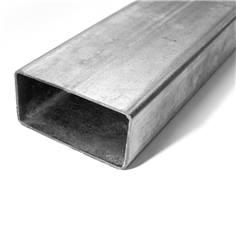 Poteau rectangulaire 80 x 40 mm en acier galva avec bouchon obturateur