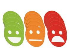 Lot de 15 Smileys aimantés - Rouge Vert Orange