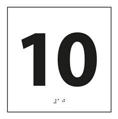 Plaque de porte chiffre relief - 10 - 120 x 120 mm