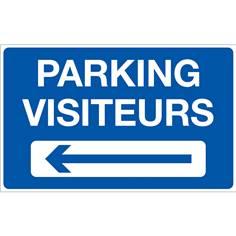 Panneau Parking Visiteurs à Gauche - Fond bleu - H 250 x L 400 mm
