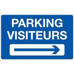 Panneau Parking Visiteurs à Droite - Fond bleu - H 250 x L 400 mm