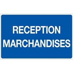 Panneau Réception Marchandises - Fond bleu - H 250 x L 400 mm