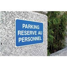 Panneau Parking Réservé au Personnel - Fond bleu - H 250 x L 400 mm