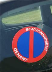 Autocollant dissuasif rond Stationnement Génant à coller sur les vitres de voiture - Ø 150 mm