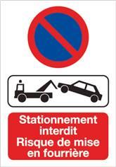Papier Autocollant Dissuasif Rectangulaire Risque de Mise en Fourrière