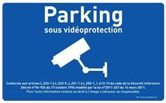 Panneau Parking Sous Surveillance Vidéo  - Fond bleu - H 250 x L 400 mm