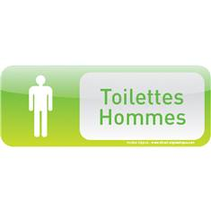 Plaque de porte Toilettes Hommes Text´icone® - H 60 x L 160 mm