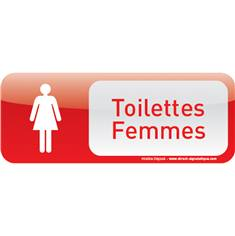 Plaque de porte Toilettes Femmes Text´icone® - H 60 x L 160 mm