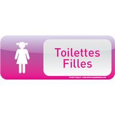 Plaque de porte Toilettes Filles Text´icone® - H 60 x L 160 mm