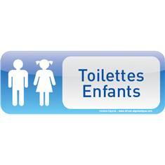Plaque de porte Toilettes Enfants Text´icone® - H 60 x L 160 mm