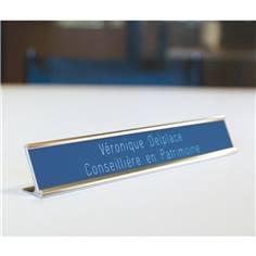Etiquette gravée sur porte-plaque coulissant à poser - H 25.5 x L 178 mm
