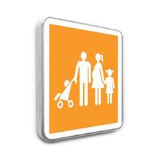 Panneau de parking réservé aux familles avec poussette - Orange