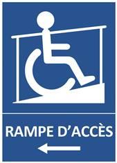 Panneau Rampe d´Accès Handicapés vers la gauche
