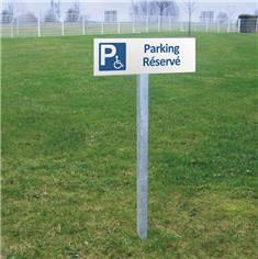 Panneau de Parking Réservé aux Personnes à Mobilité Réduite - H 150 x L 450 mm - Alu dibond 2 mm