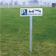 Panneau de Parking Réservé aux Handicapés avec mise en fourrière - H 150 x L 450 mm - Alu dibond 3 mm