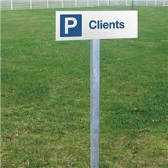 Panneau de parking réservé aux clients - H 150 x L 450 mm - Alu dibond 2 mm