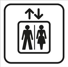Picto gravé Ascenseur - 100 x 100 mm - Gamme Couleur