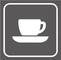 Picto gravé Bar cafétéria - 100 x 100 mm - Gamme Couleur
