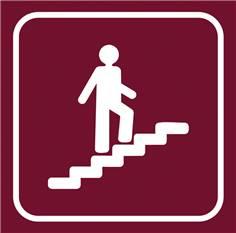 Picto gravé Escalier montant - 100 x 100 mm - Gamme Couleur