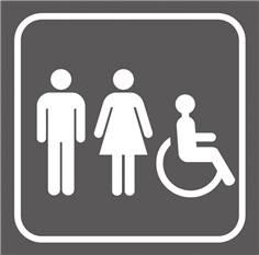 Picto gravé Toilettes homme/femme  handicapés - 100 x 100 mm - Gamme Couleur