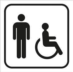 Picto gravé Toilettes hommes handicapés - 100 x 100 mm - Gamme Couleur