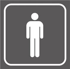 Picto gravé Toilettes hommes - 100 x 100 mm - Gamme Couleur
