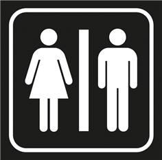Picto gravé Toilettes hommes femmes - 100 x 100 mm - Gamme Couleur