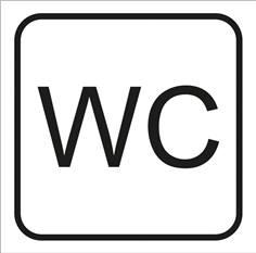 Picto gravé WC - 100 x 100 mm - Gamme Couleur