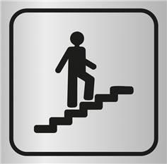 Picto gravé Escalier montant - 100 x 100 mm - Gamme Métal