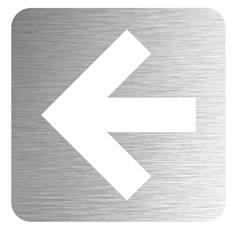 Pictogramme Flèche découpée en aluminium brossé - 100 x 100 mm