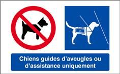 Panneau Interdit aux Chiens sauf Chiens Guides d´Aveugles