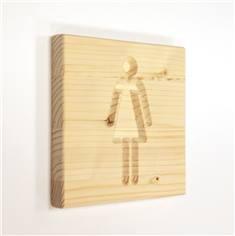 Signalétique en bois Toilettes Femmes - Gamme Epicéa