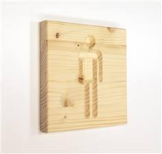 Signalétique en bois Toilettes Hommes - Gamme Epicéa