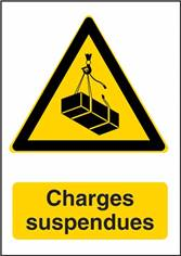 Panneau Danger Charges Suspendues - W015F Dimension H 420 x L 297 mm Matière Polypropylène non adhésif Detail L´unité